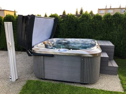 Family whirlpool Nemo. Luxurious jacuzzi with premium Mediterane colour and sheathing Lacan TT by Canadian Spa International®